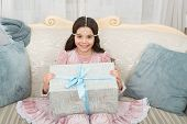 Dream Big. Happy Child Got Present. Little Girl Hold Present Box. Birthday Present. Gift Or Present  poster