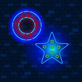Vip Neon Icons Concept. Neon Lifebuoy And Starfish, Blue Glowing Neon On The Dark Brick Wall Backgro poster