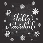 Feliz Navidad Calligraphy Hand Lettering On Chalkboard Background With Snowflakes. Merry Christmas T poster
