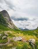 Beautiful Mountain Scenery Near Trollstigen Road From Andalsnes To Stranda In Norway, Scandinavia. S poster