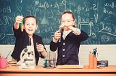 Good News. Science Experiments In Laboratory. Chemistry Research. Little Girls Scientist Work With M poster