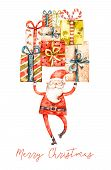 Naive Watercolor Santa Claus With Gifts, Nursery Design, Greeting Postcard Cover Isolated On White B poster