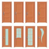 Set Of Wooden Doors, Closed Doors, Interior Doors With And Without Glass, Interest Design poster