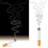 stock photo of cigarette-smoking  - Vector illustration of Smoke and Cigarette design - JPG