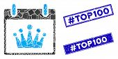 Mosaic Crown Calendar Day Icon And Rectangle Hashtag Top100 Stamps. Flat Vector Crown Calendar Day M poster