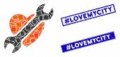 Mosaic Heart Surgery Pictogram And Rectangle Hashtag Lovemycity Seal Stamps. Flat Vector Heart Surge poster
