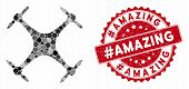 Mosaic Airdrone And Distressed Stamp Seal With Hashtagamazing Phrase. Mosaic Vector Is Formed With A poster