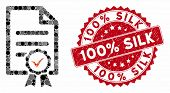 Mosaic Certified And Distressed Stamp Seal With 100 Percent Silk Phrase. Mosaic Vector Is Designed W poster