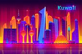 Kuwait Metropolis Nightlife Cartoon Banner Template With Modern Asian, Muslim Culture City, Futurist poster