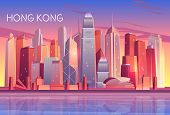 Hong Kong City Evening, Morning Skyline Cartoon With Sunset Light Reflecting In Skyscrapers Building poster