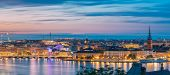 Stockholm, Sweden. Night Skyline With Famous Landmarks. Panorama, Panoramic View Of Stockholm Citysc poster