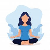 Woman Meditating Isolated On White Background. Yoga, Meditation, Relax, Healthy Lifestyle Concept. V poster