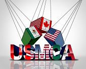 Usmca Agreement Or The New Nafta United States Mexico Canada Legislation With North America Flags As poster