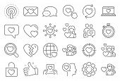 Love Line Icons. Couple, Romantic And Heart Icons. Valentines Day Love Symbols. Divorce Or Break Up  poster