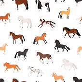 Horse Breeding Flat Vector Seamless Pattern. Purebreed Mares And Stallions Decorative Texture. Thoro poster
