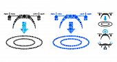 Copter Arrival Mosaic Of Round Dots In Various Sizes And Color Tones, Based On Copter Arrival Icon.  poster