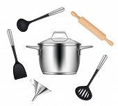 Kitchen Objects. Realistic Items For Cooking Food Griddles Pans Knives Forks Ladles Vector Utensils. poster