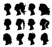 Hair Style Woman. Beautiful Girls With Variety Of Fashionable Hairstyles. Design Element For Beauty  poster