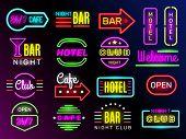 Neon Glow Hotel. Night Advertising Retro Signboards New York Or Vegas Style Vintage Frames Club Bann poster