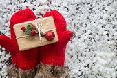 Winter Gloves With Gift Box. Holiday Christmas Background. New Year And Still Life. Christmas Orname poster