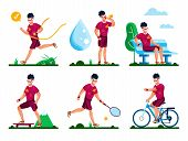 Outdoor Sports, Healthy Lifestyle Activities, Summer Active Recreation Types Trendy Flat Vector Conc poster