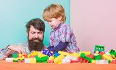 Happy Family. Child Development And Upbringing. Importance Of Playing Together. Dad And Son Have Fun poster