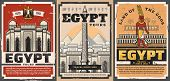 Ancient Egypt Travel Trips And Landmarks Sightseeing Tours Retro Vintage Posters. Vector Ancient Egy poster