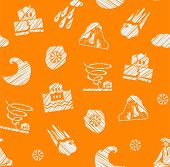 Weather, Natural Disasters, Seamless Pattern, Hatching, Vector, Color, Orange-blue. Images Of Variou poster