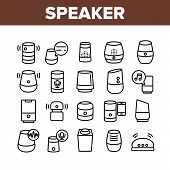 Speaker Assistant Collection Icons Set Vector Thin Line. Voice Speaker Assistance, Smartphone Connec poster