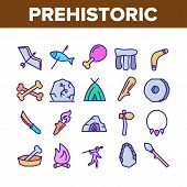 Prehistoric Primitive Collection Icons Set Vector Thin Line. Bone In Bowl And Chicken Leg, Burning C poster