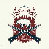 Hunting Club. Vector. Concept For Shirt Or Label, Print, Stamp Or Tee. Vintage Typography Design Wit poster