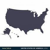 United States Of America (usa) - North America Countries Map Icon Vector Logo Template Illustration  poster