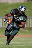 VIENNA, AUSTRIA - APRIL 29:  RB Tunde Ogun (#1 Dragons) runs with the ball on April 29, 2012 in Vien
