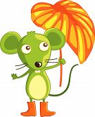 picture of buck teeth  - mouse in boots with umbrella on white background - JPG