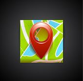 Mobile app icon - navigation map and tag symbol. Vector colorful illustration: map, red tag (pin) sy