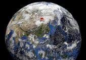 China flag on pole on earth globe illustration