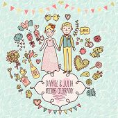 Wedding vector card in vintage style. Cartoon illustration about marriage. Save the date invitation