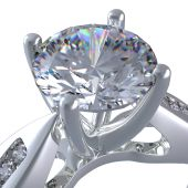 stock photo of diamond ring  - 3d rendering of a diamond ring on white background - JPG