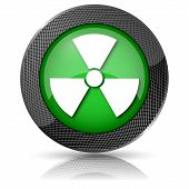 stock photo of radium  - Shiny glossy icon with white design on green background - JPG