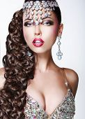 Постер, плакат: Glam Luxury Classy Woman With Long Braided Tress