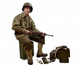 Americn Soldier And His M1 Carbine