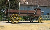 image of stagecoach  - In old Sacramento region this stagecoach displayed for tourist attraction - JPG