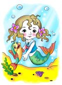 stock photo of magickal  - little mermaid playing with the fish - JPG