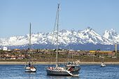 stock photo of tierra  - Sailing boats in port of Ushuaia Tierra del Fuego Patagonia Argentina - JPG