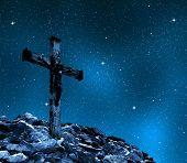 pic of inri  - Jesus Christ on The Cross in night sky - JPG