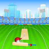 picture of cricket ball  - vector illustration of cricket bat and ball in stadium - JPG
