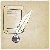 picture of inkwells  - inkwell pen paper old background  - JPG