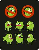 picture of microbes  - Set of cute green microbes - JPG