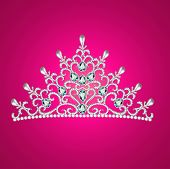stock photo of crown jewels  - of a woman with tiara crown jewels on pink - JPG