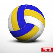 image of volleyball  - Volleyball ball in traditional tricolor colors on white background - JPG